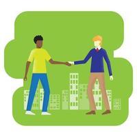 två män skakar hand vektorbild för affärsinnehåll. vektor