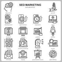 SEO Marketing Icon Set für Website, Dokument, Poster Design, Druck, Anwendung. SEO Marketing Konzept Symbol Umriss Stil.