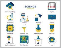 vetenskapssymbolsuppsättning för webbplats, dokument, affischdesign, utskrift, applikation. vetenskap koncept ikon platt stil.