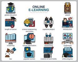 Online-Lernsymbolsatz für Website, Dokument, Plakatgestaltung, Druck, Anwendung. Online-Kurskonzept Symbol gefüllt Gliederungsstil.
