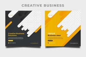 Kreative Geschäftsvorlagen für quadratische Banner für Social-Media-Posts.