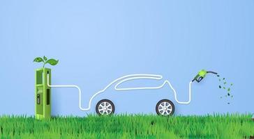 Konzept des umweltfreundlichen Öko-Autos. Papierkunst und Bastelstil. vektor