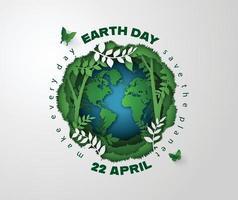 Planet Erde umgeben von Waldpflanzen und Weinreben, Tag der Erde Konzept vektor
