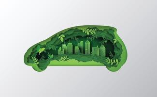 Konzept des Öko-Autos aus Dschungel. Papierkunst und Bastelstil. vektor