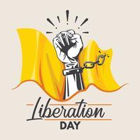 Hände mit gebrochener Kette für Befreiungstag-Konzept