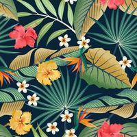 sömlösa mönster med tropiska vackra blommor och blad, exotisk bakgrund.
