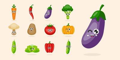 uppsättning glada grönsaker tecken vektorillustration vektor