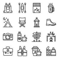 paket med campingtillbehör linjära ikoner