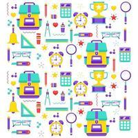 färgglada mönster skolan brevpapper vektorillustration