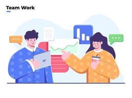 Flache Darstellung des Geschäftsprozesses der Teamarbeit, des Denkens und Lösen eines Problems in der Teamarbeit, der Diskussion und des Brainstormings im Team, der Datenanalyse, der Zusammenarbeit im Arbeitsteam und der Startup-Diskussion. vektor