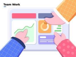 flache Illustration von Teamarbeit und Teambildung, Teamarbeitsplanung und -zusammenarbeit, Zusammenarbeit zur Erreichung von Geschäftszielen, Büroteamarbeit, Besprechung der Geschäftszukunftsplanung mit Analyse. vektor