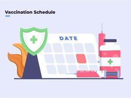flache Abbildung Covid-19-Coronavirus-Impfplan Datum, Impfzeit, Impfplan, Krankheitsvorbeugung, Impfprogrammplan, Spritze, Injektion. vektor