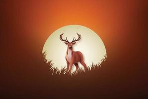 Hirsch auf dem Feld bei Sonnenuntergang vektor