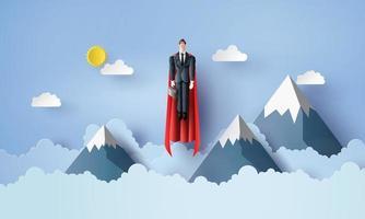 Geschäftsmann fliegt im Himmel wie ein Superheld. Papierschnitt Stil vektor