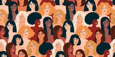 Internationaler Frauentag. Vektor nahtloses Muster mit Frauen verschiedener Nationalitäten und Kulturen.