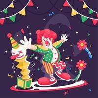 feiern und mit niedlichen Clown spielen vektor