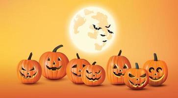Happy Halloween Gruß Banner mit Kürbissen und Fledermäusen vektor