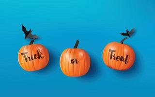 Happy Halloween Gruß Banner mit Kürbissen und Fledermäusen. Papierschnitt Stil vektor