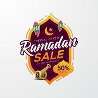 ramadan försäljning rabatt fyrkantig banner mall marknadsföring design vektor