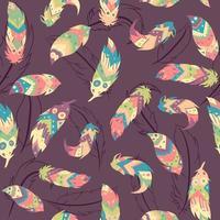böhmisches nahtloses Muster mit Federn und lebenden Korallenkreisen. repetitiver indischer und Boho-Chic-Hintergrund mit bunten Elementen und aztekischen Motiven. vektor