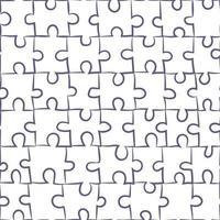 nahtloses Muster mit isoliertem Puzzle. Vektorillustration über passende Spielsteine. sich wiederholender einfacher Hintergrund. vektor