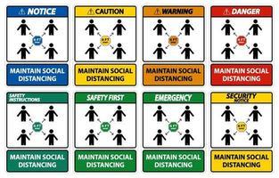 upprätthålla socialt distans teckenuppsättning