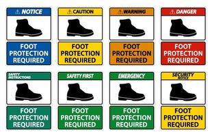 Fußschutz erforderlich Wandsymbol Zeichensatz vektor