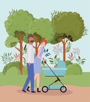 interracial föräldrar som tar hand om nyfött barn med barnvagn i parken vektor