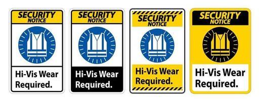 säkerhetsmeddelande tecken hi-vis slitage krävs set vektor