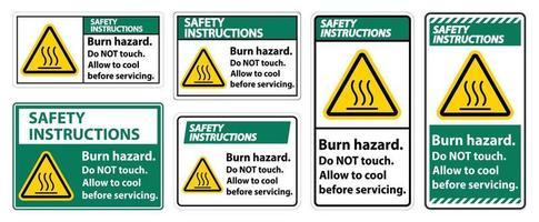 säkerhetsinstruktioner brännskadan säkerhetsskylt set