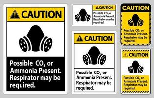 Vorsicht ppe Zeichen möglich CO2- oder Ammoniak-Präsentationszeichen gesetzt vektor