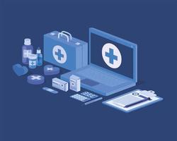 Laptop-Telemedizin-Service mit medizinischer Ausrüstung und Medikamenten vektor