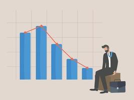 konkurs, affärsman sitter slarvig på grund av minskande grafiskt diagram