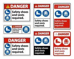 Warnschild Sicherheitsschuhe und Weste erforderlich mit ppe Symbolen gesetzt vektor