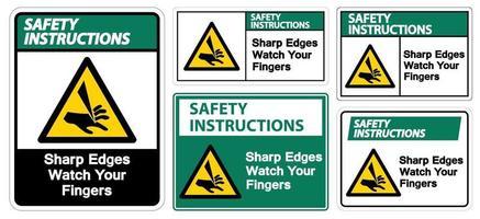 säkerhetsinstruktioner skarpa kanter titta på dina fingrar symbolskyltuppsättning vektor