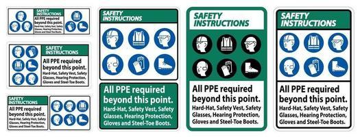 säkerhetsinstruktioner ppe krävs utöver denna punktskyltsats vektor