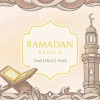 handgezeichneter Ramadan Kareem mit islamischer Verzierung vektor