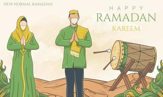 neue normale Ramadan Kareem, tragen Sie weiterhin Gesichtsmaske während Ramadan, handgezeichnete Illustration. vektor