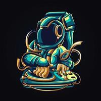 DJ Astronauten Kunstwerk Illustration vektor