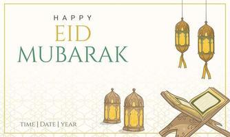 Hand gezeichneter glücklicher eid Mubarak schöner Hintergrund mit islamischer Verzierung.