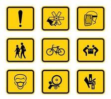 varningsrisk symboler etiketter teckenuppsättning vektor