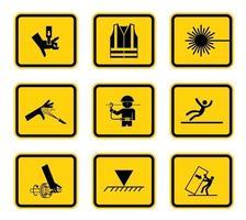 varningsrisk symboler etiketter teckenuppsättning