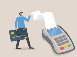 Illustration Zahlung per Karte. kontaktlose Zahlung. Online-Kauf. Mann mit einer Bankkarte zum Terminal vektor