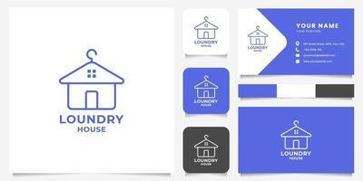 einfache und minimalistische Strichgrafik Kleiderbügel und Haus Logo mit Visitenkartenvorlage vektor