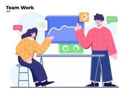 flache Illustration Business Team Diskussion, Team Diskussion Ideen, Präsentation und Diskussion des Projekts, Business Marketing mit Datenanalyse Diskussion, Menschen sprechen Konferenz Tagungsraum vektor