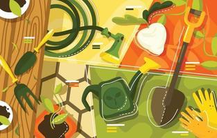 eco trädgårdsredskap och några växter koncept vektor