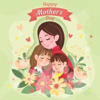 Mutter umarmt ihre Tochter mit Liebe vektor