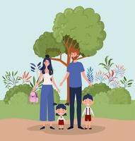familj i parken vektor