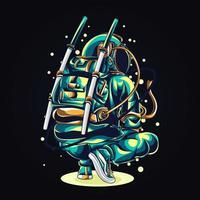 Astronat Squat Artwork Illustration vektor