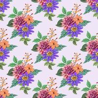sömlösa mönster med färgglada botaniska blommönster illustration.
